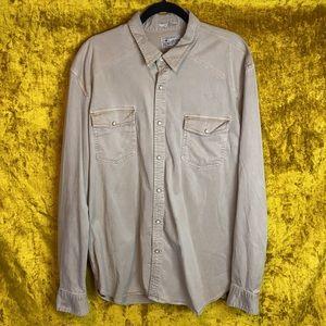 LuckyBrand Tan Classic Fit Button Snap Shirt szXXL